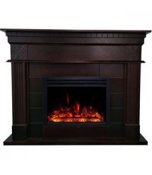 Cambridge 47.8-in. Shelby Electric Fireplace Mantel with Deep Log Insert, Dark Coffee