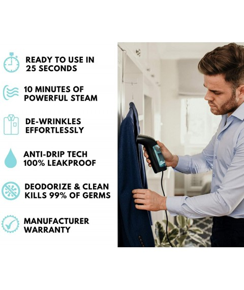 [Upgraded] WiredLux Clothes Steamer, Handheld Garment Steamer, Flat & Vertical Travel Iron, Mini Portable Size & Lightweight, 100% Leakproof Ready in 25s, Hand Held Steam Cleaner, Accessories Included